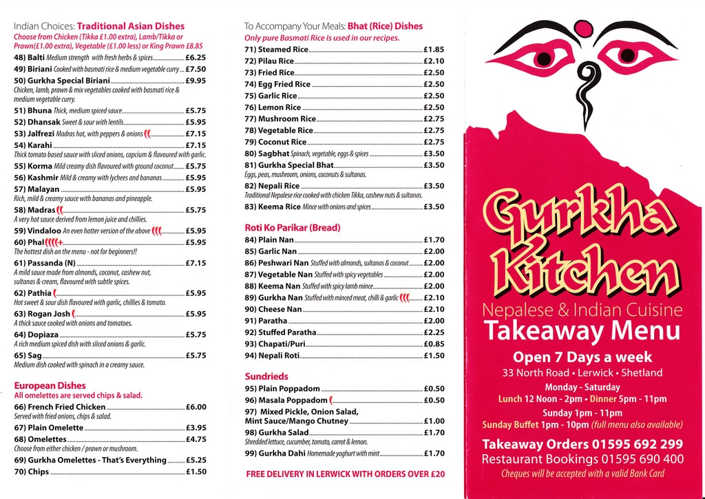 Gurkha Kitchen Menu Lerwick